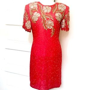 NWOT Vintage 1980's SCALA Red Beaded Dress Size M